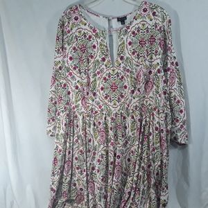 Torrid Womens Ivory Floral Print Challis Dress 4X